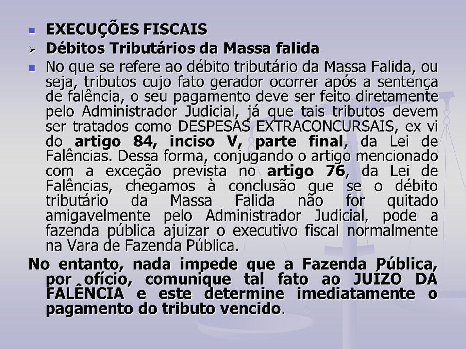 EXECUÇÕES FISCAIS Débitos Tributários da Massa falida.