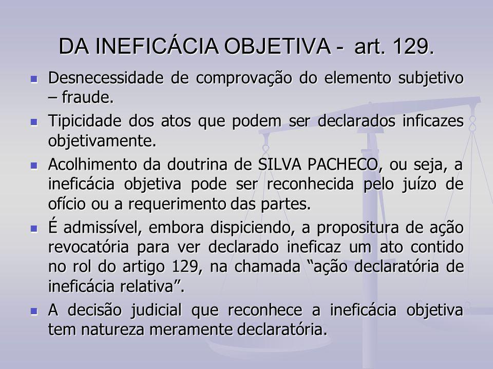 DA INEFICÁCIA OBJETIVA - art. 129.