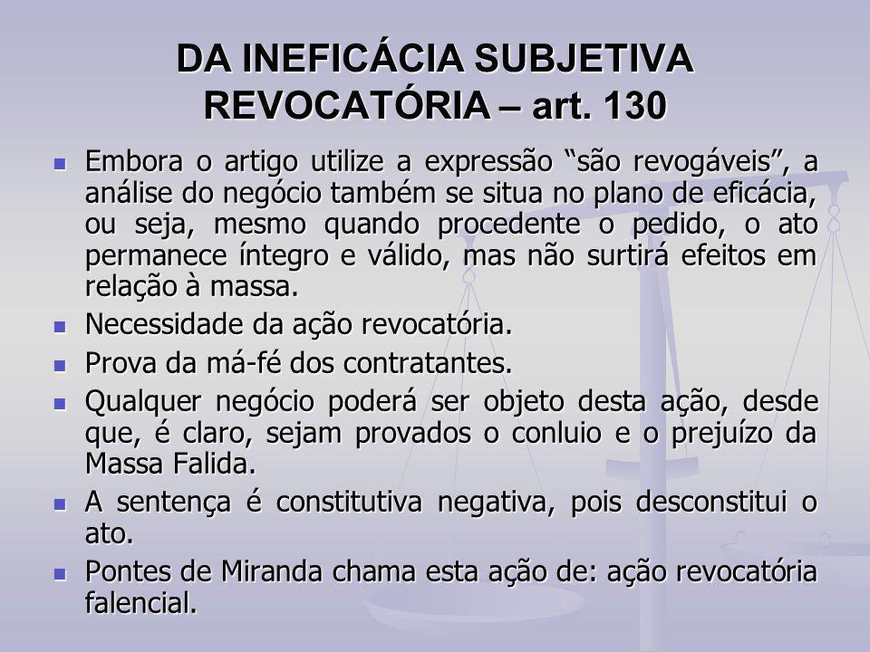 DA INEFICÁCIA SUBJETIVA REVOCATÓRIA – art. 130