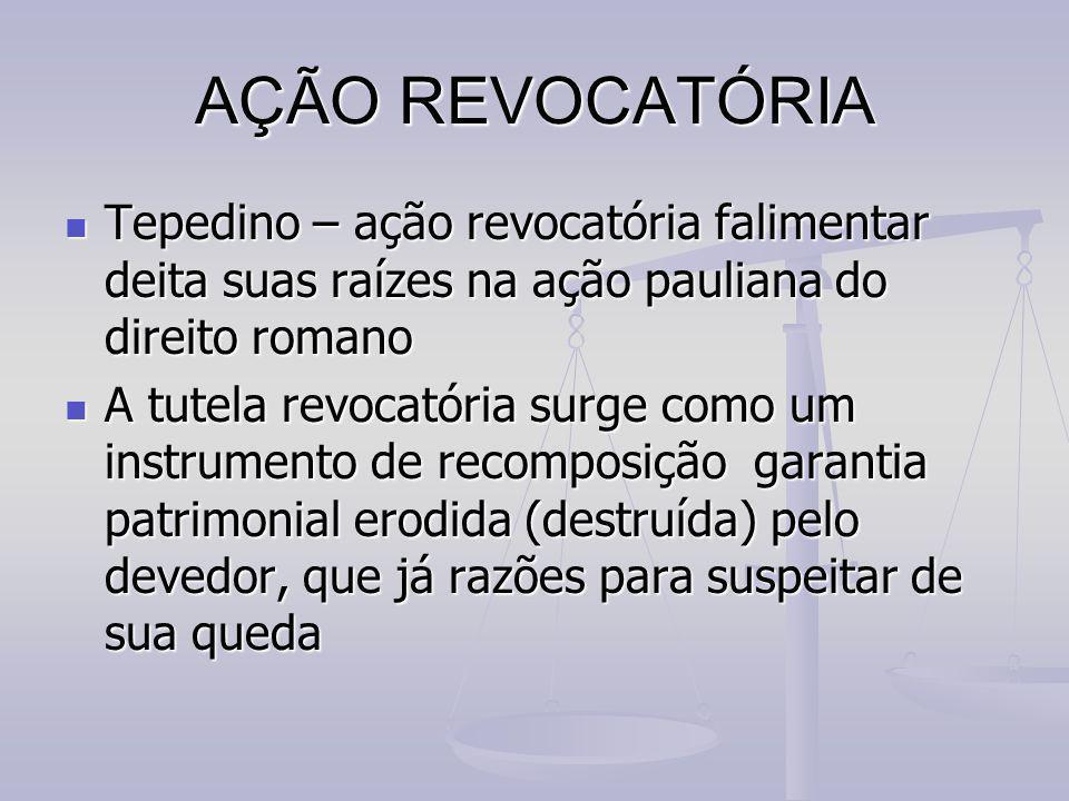 AÇÃO REVOCATÓRIA Tepedino – ação revocatória falimentar deita suas raízes na ação pauliana do direito romano.