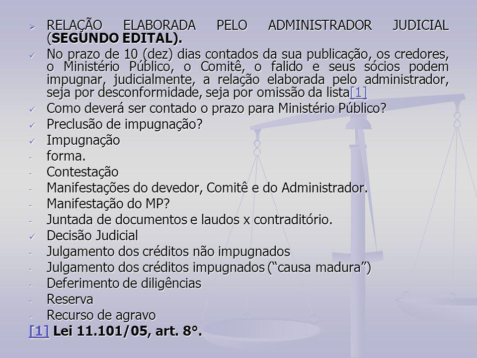 RELAÇÃO ELABORADA PELO ADMINISTRADOR JUDICIAL (SEGUNDO EDITAL).