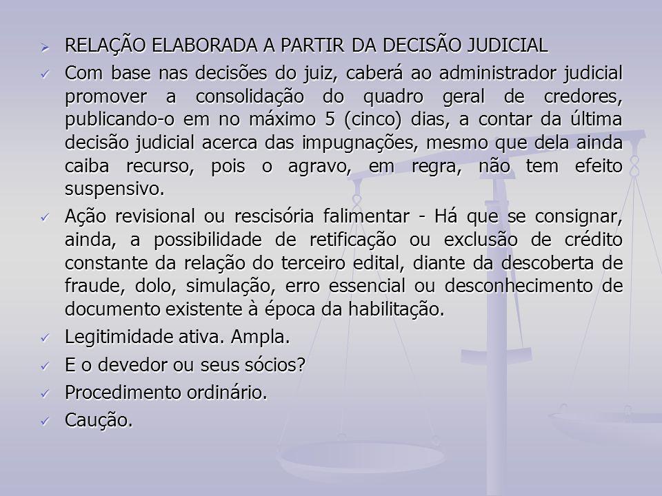 RELAÇÃO ELABORADA A PARTIR DA DECISÃO JUDICIAL