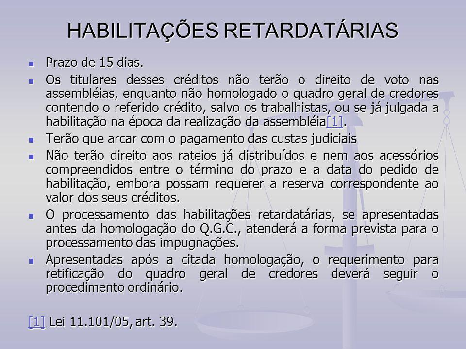 HABILITAÇÕES RETARDATÁRIAS