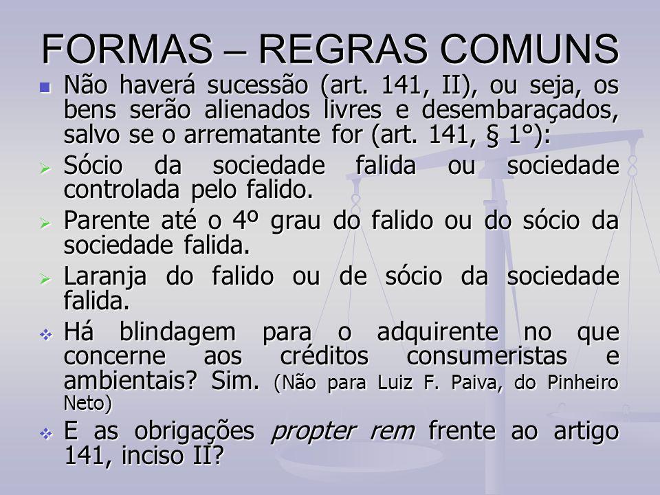 FORMAS – REGRAS COMUNS