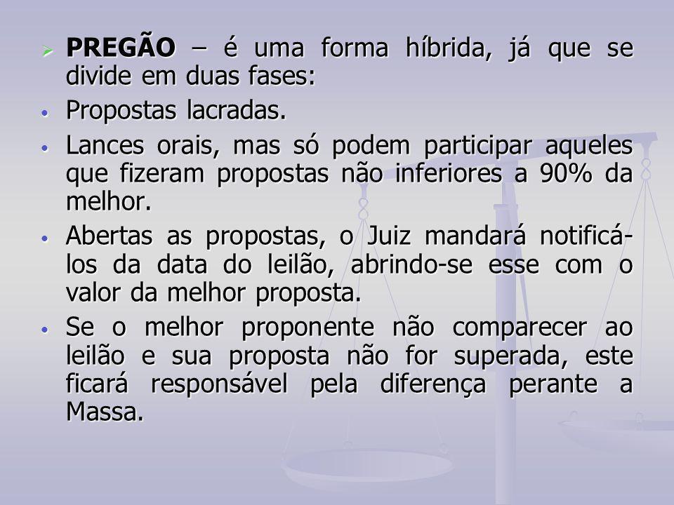 PREGÃO – é uma forma híbrida, já que se divide em duas fases: