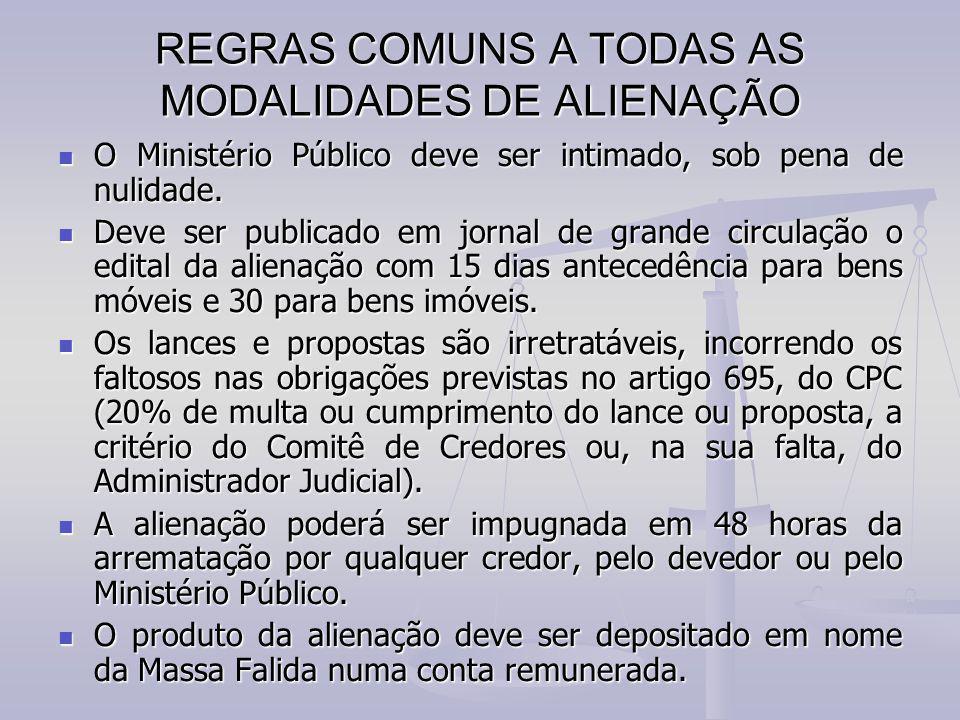 REGRAS COMUNS A TODAS AS MODALIDADES DE ALIENAÇÃO