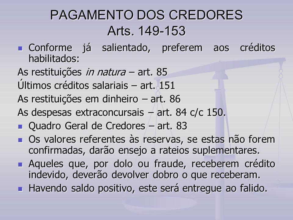PAGAMENTO DOS CREDORES Arts. 149-153