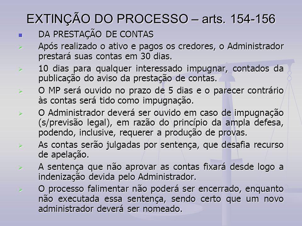 EXTINÇÃO DO PROCESSO – arts. 154-156