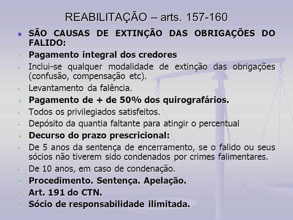 REABILITAÇÃO – arts. 157-160 SÃO CAUSAS DE EXTINÇÃO DAS OBRIGAÇÕES DO FALIDO: Pagamento integral dos credores.