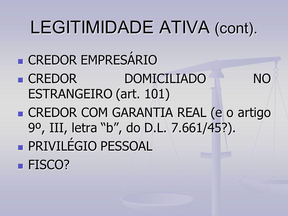 LEGITIMIDADE ATIVA (cont).