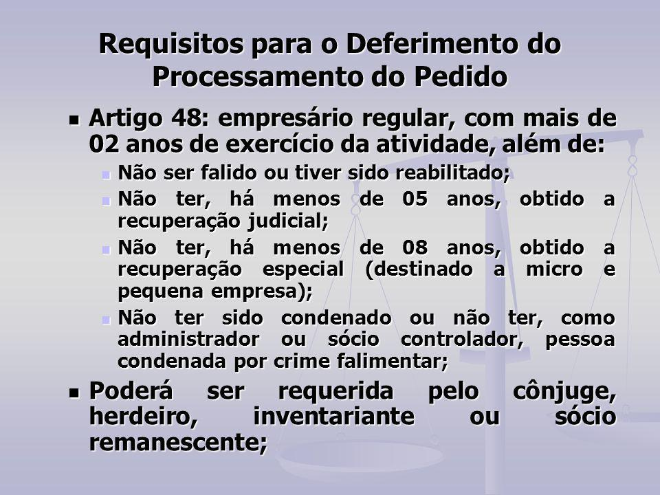 Requisitos para o Deferimento do Processamento do Pedido