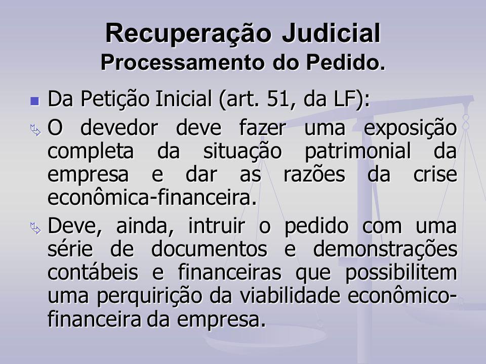 Recuperação Judicial Processamento do Pedido.