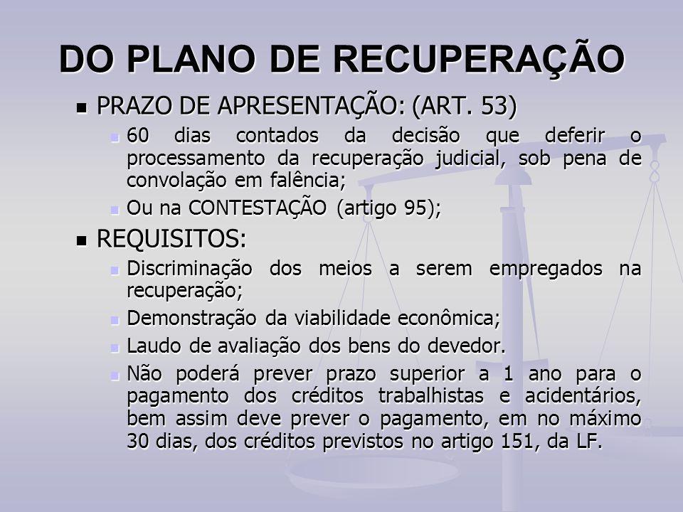 DO PLANO DE RECUPERAÇÃO