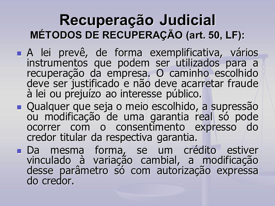 Recuperação Judicial MÉTODOS DE RECUPERAÇÃO (art. 50, LF):