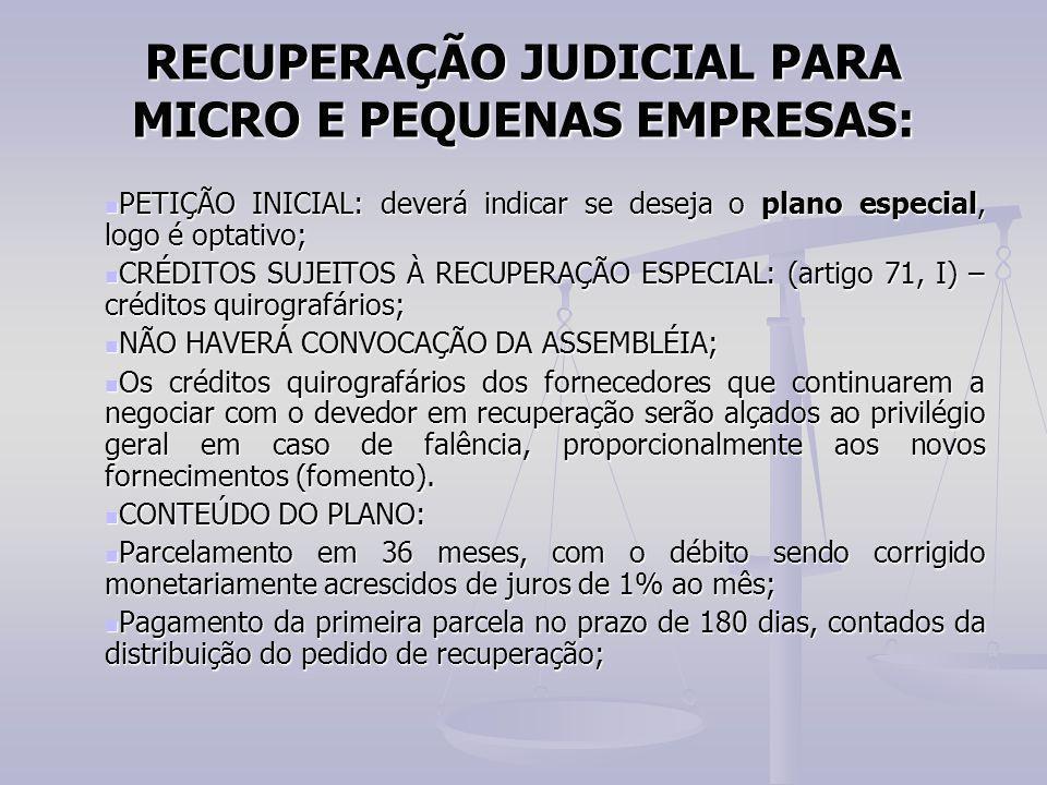 RECUPERAÇÃO JUDICIAL PARA MICRO E PEQUENAS EMPRESAS: