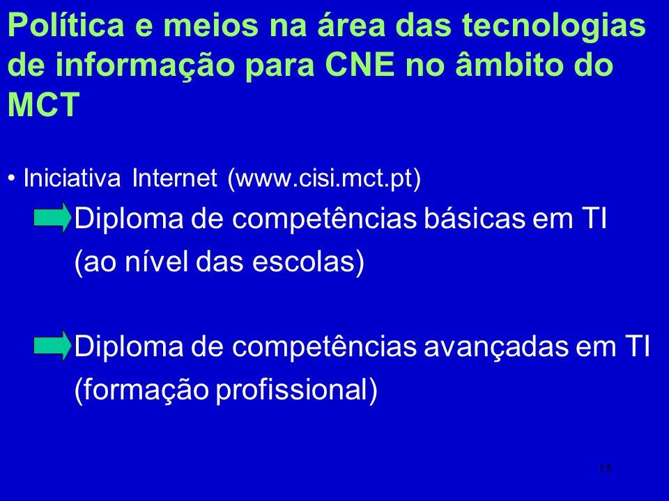 Política e meios na área das tecnologias de informação para CNE no âmbito do MCT