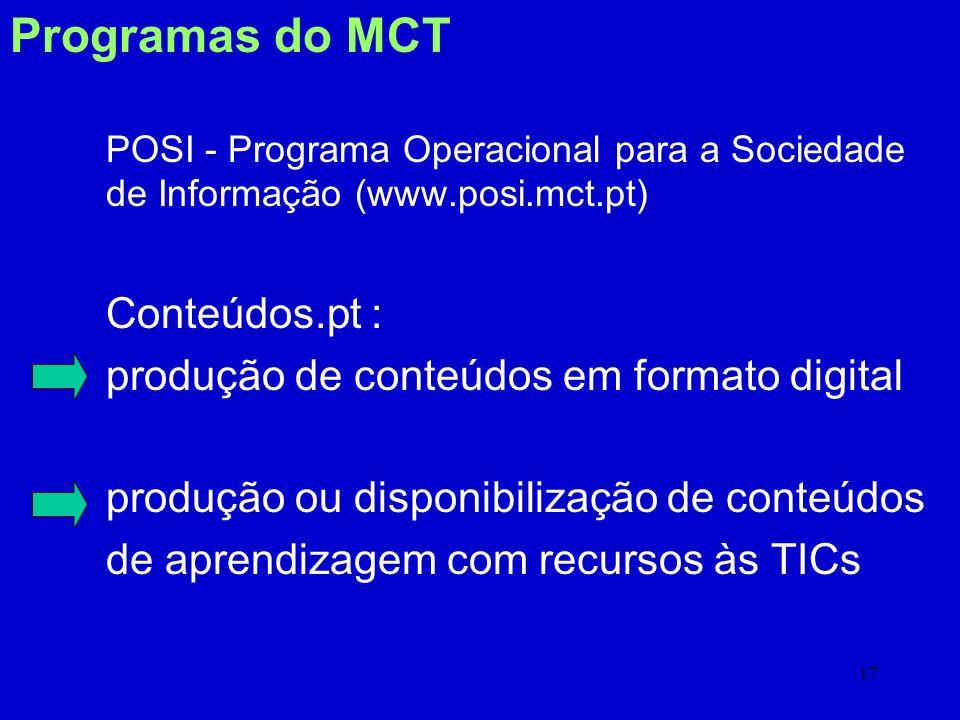 Programas do MCT Conteúdos.pt :