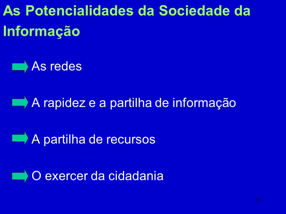 As Potencialidades da Sociedade da Informação