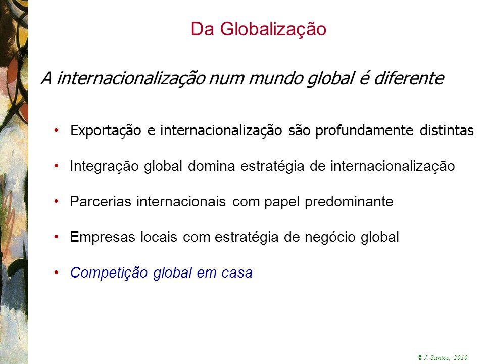 Da Globalização A internacionalização num mundo global é diferente
