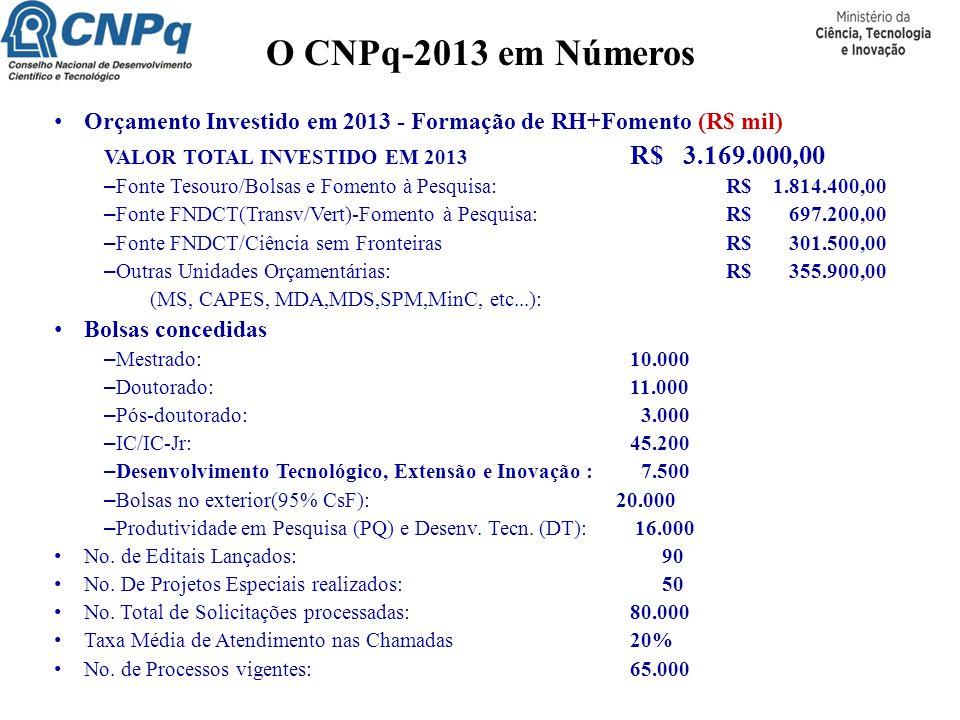 O CNPq-2013 em Números Orçamento Investido em 2013 - Formação de RH+Fomento (R$ mil) VALOR TOTAL INVESTIDO EM 2013 R$ 3.169.000,00.