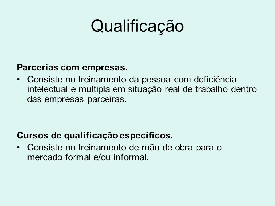 Qualificação Parcerias com empresas.