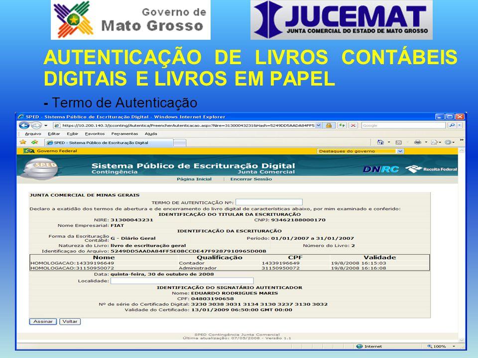 AUTENTICAÇÃO DE LIVROS CONTÁBEIS DIGITAIS E LIVROS EM PAPEL