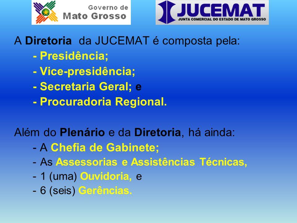 A Diretoria da JUCEMAT é composta pela: - Presidência;