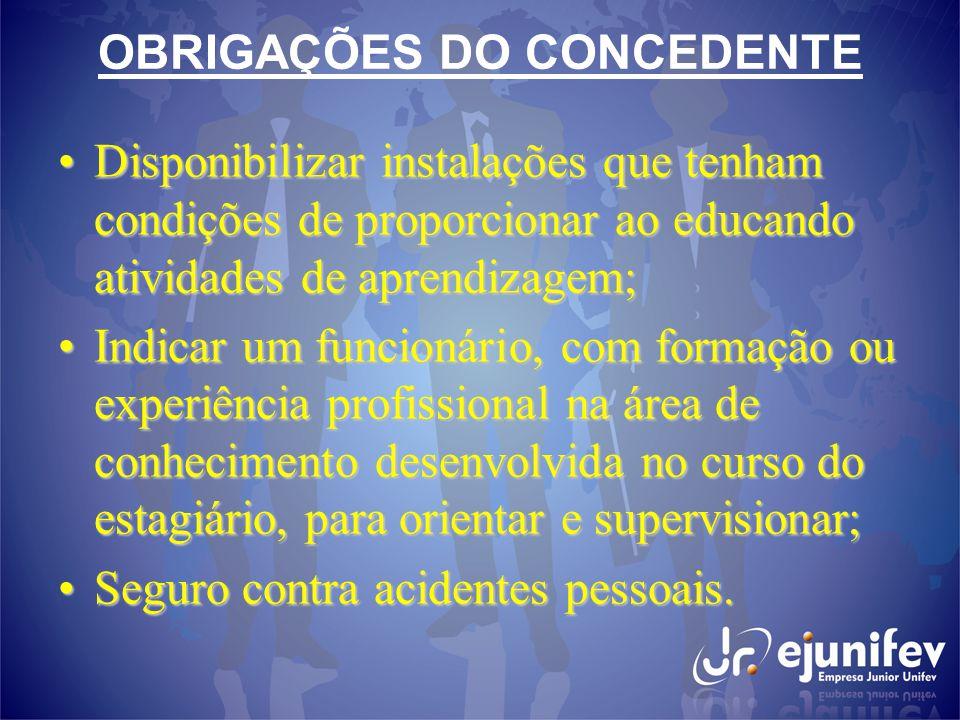 OBRIGAÇÕES DO CONCEDENTE