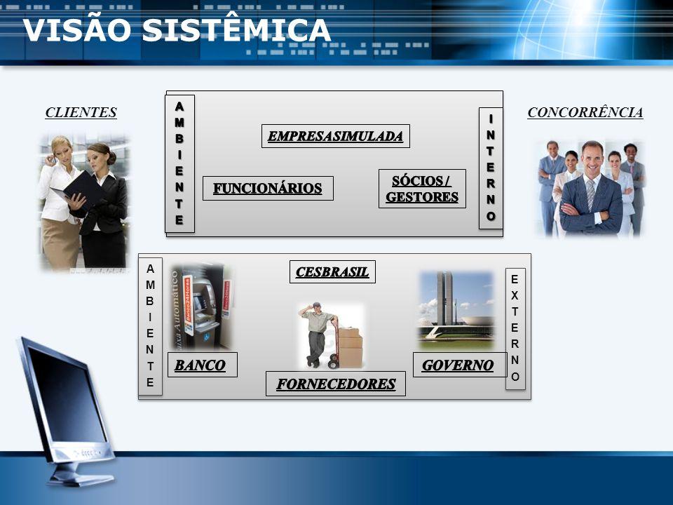 VISÃO SISTÊMICA CLIENTES CONCORRÊNCIA BANCO GOVERNO FORNECEDORES