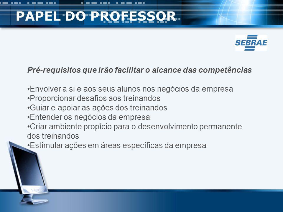 PAPEL DO PROFESSOR Pré-requisitos que irão facilitar o alcance das competências. Envolver a si e aos seus alunos nos negócios da empresa.