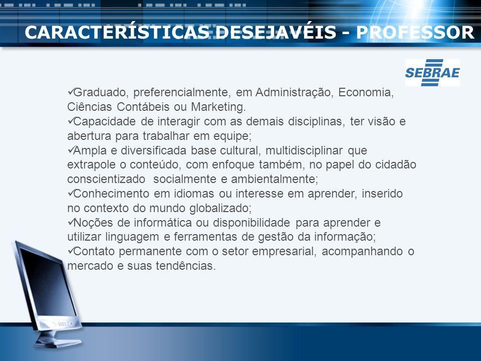 CARACTERÍSTICAS DESEJAVÉIS - PROFESSOR