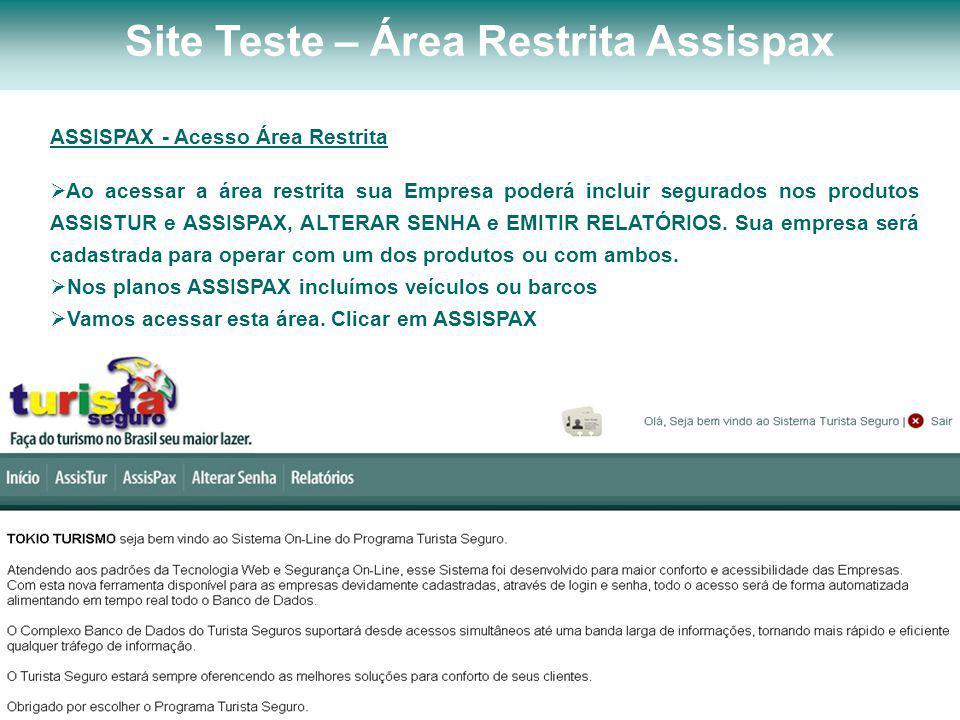 Site Teste – Área Restrita Assispax