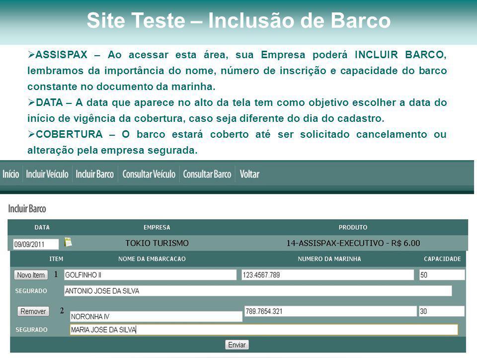 Site Teste – Inclusão de Barco