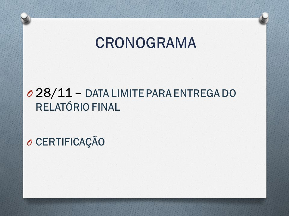CRONOGRAMA 28/11 – DATA LIMITE PARA ENTREGA DO RELATÓRIO FINAL