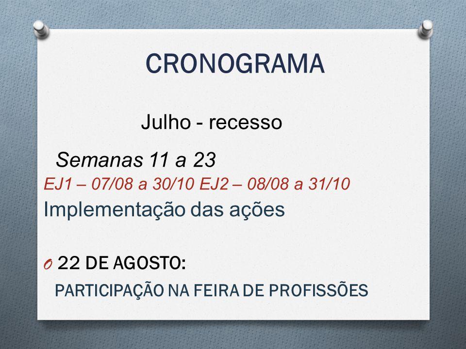 CRONOGRAMA Julho - recesso Semanas 11 a 23 Implementação das ações