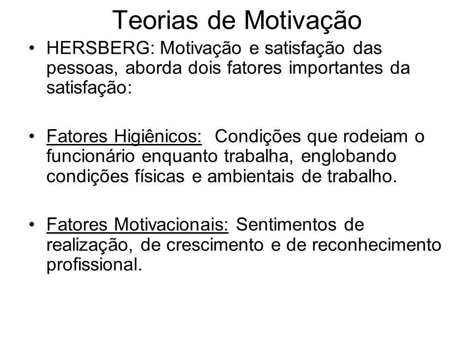 Teorias de Motivação HERSBERG: Motivação e satisfação das pessoas, aborda dois fatores importantes da satisfação: