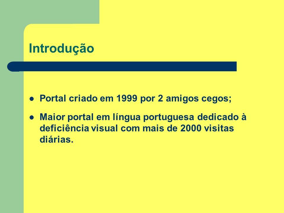 Introdução Portal criado em 1999 por 2 amigos cegos;