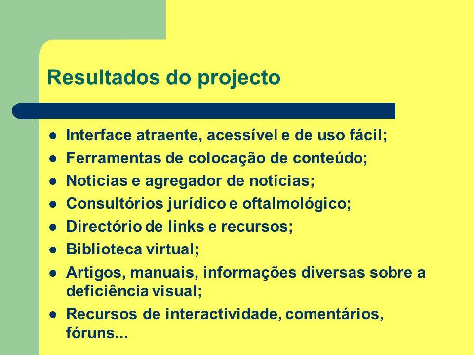 Resultados do projecto