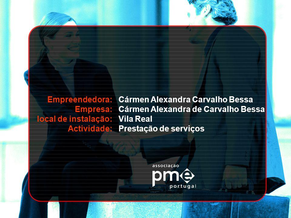 Empreendedora: Empresa: local de instalação: Actividade: Cármen Alexandra Carvalho Bessa. Cármen Alexandra de Carvalho Bessa.