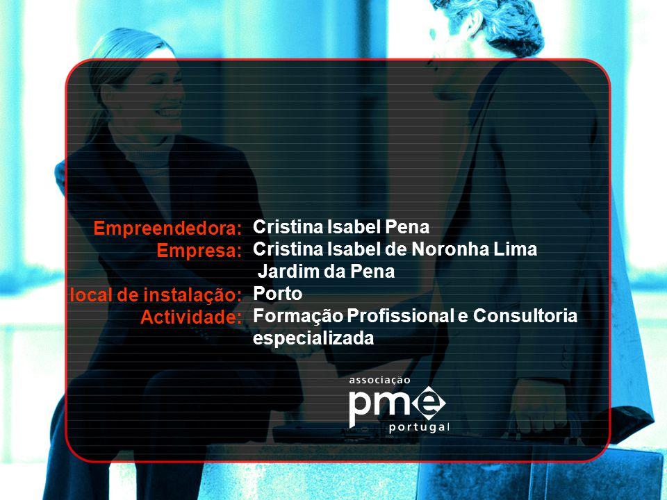 Empreendedora: Empresa: local de instalação: Actividade: Cristina Isabel Pena. Cristina Isabel de Noronha Lima.