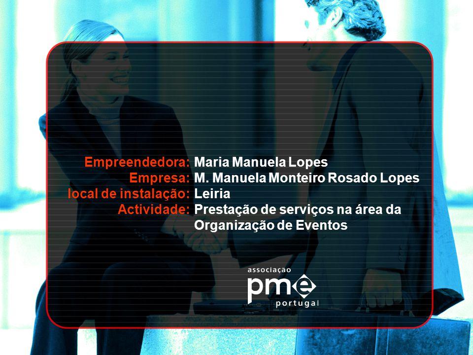 Empreendedora: Empresa: local de instalação: Actividade: Maria Manuela Lopes. M. Manuela Monteiro Rosado Lopes.