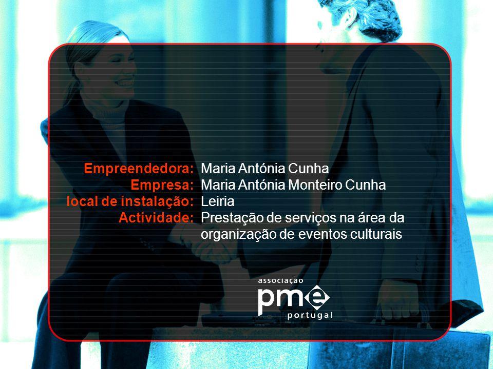 Empreendedora: Empresa: local de instalação: Actividade: Maria Antónia Cunha. Maria Antónia Monteiro Cunha.