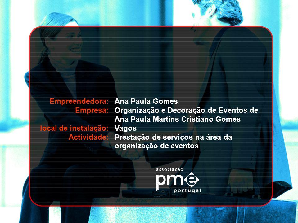 Empreendedora: Empresa: local de instalação: Actividade: Ana Paula Gomes. Organização e Decoração de Eventos de Ana Paula Martins Cristiano Gomes.