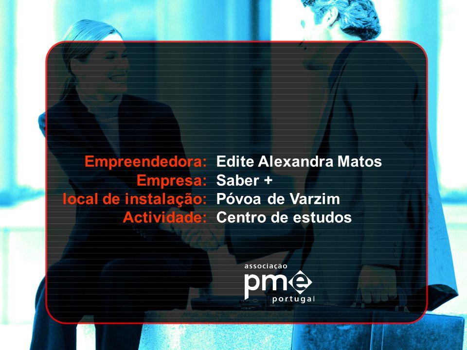 Empreendedora: Empresa: local de instalação: Actividade: Edite Alexandra Matos. Saber + Póvoa de Varzim.