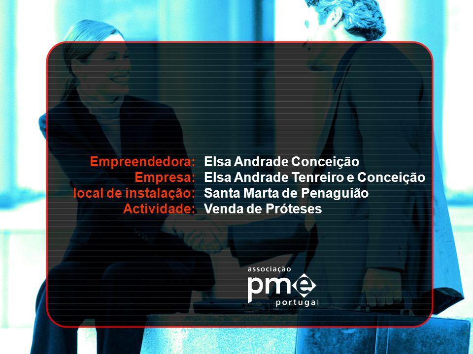 Empreendedora: Empresa: local de instalação: Actividade: Elsa Andrade Conceição. Elsa Andrade Tenreiro e Conceição.