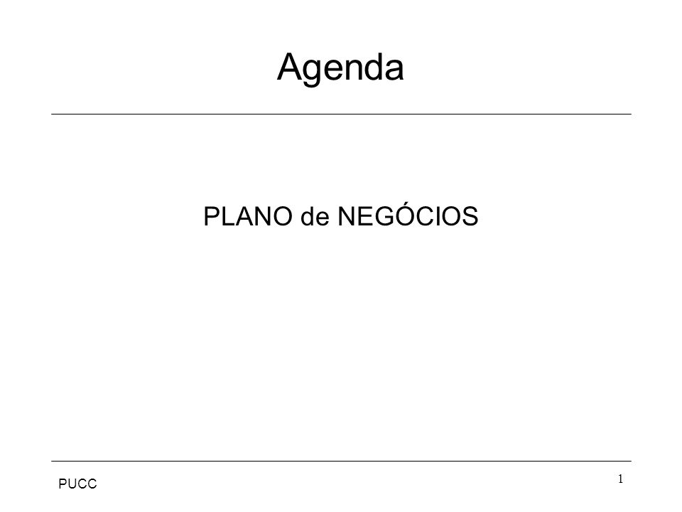 Agenda PLANO de NEGÓCIOS