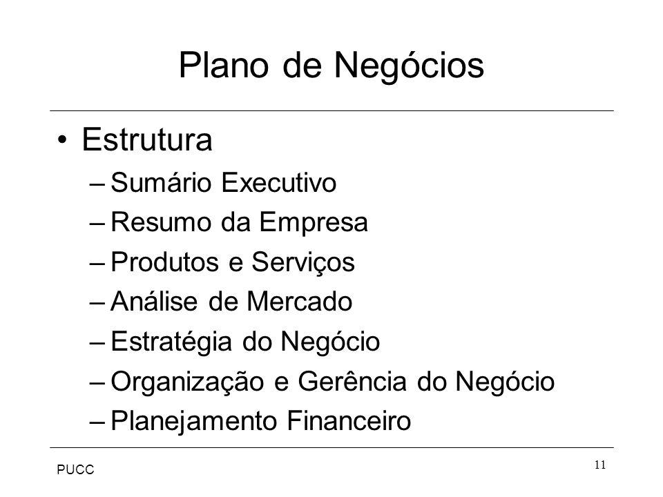 Plano de Negócios Estrutura Sumário Executivo Resumo da Empresa