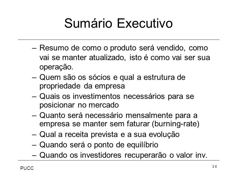 Sumário Executivo Resumo de como o produto será vendido, como vai se manter atualizado, isto é como vai ser sua operação.