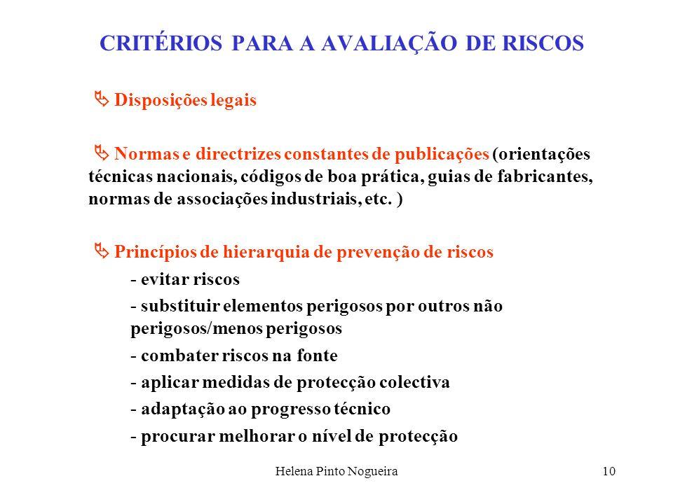 CRITÉRIOS PARA A AVALIAÇÃO DE RISCOS