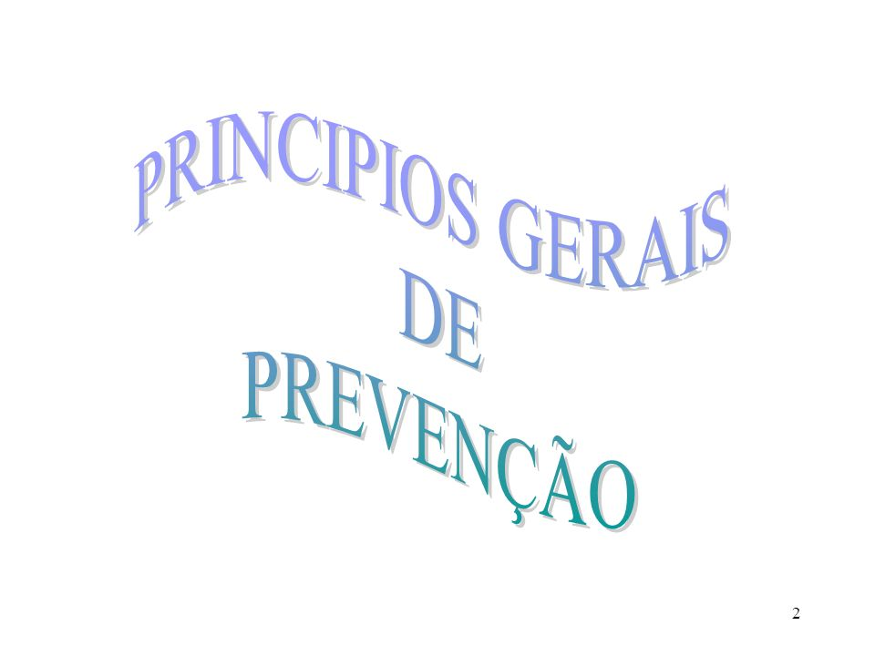 PRINCIPIOS GERAIS DE PREVENÇÃO